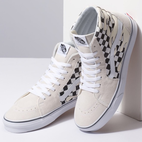 Vans SK8-Hi Classic White Checker Flame Boutique